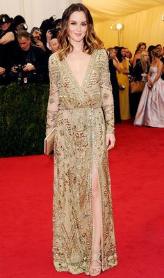 Leighton Meester vamped it up in this gold Emilio Pucci gown // #celebritystyle