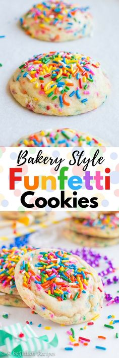 These Bakery Style Funfetti Cookies are soft, chewy, brimming with sprinkles, and loaded with that addictively sweet funfetti flavor!