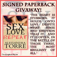 *~*Sex. Love. Repeat. by Alessandra Torre Sale Blitz – Excerpt & TWO Giveaways*~*  http://www.truestorybookblog.com/2014/04/25/sex-love-repeat-by-alessandra-torre-sale-blitz-excerpt-two-giveaways/