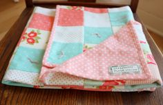 Modern Baby Quilt - Flannel Receiving Blanket - Baby Girl Quilt - Coral, Mint, White - Floral Baby Quilt by StrawberryFieldQuilt on Etsy