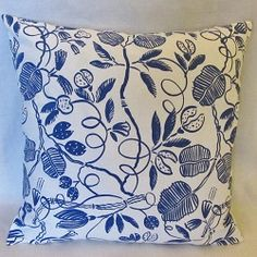 Vintage Marimekko fabric pillow covers.  Available in two blue & white patterns.  $38