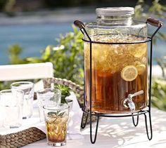 $79 Glass Caddy Drink Dispenser #potterybarn stainless steel lid + spigot; 10 qt capacity (2.5 gal)
