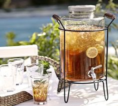 Glass Caddy Drink Dispenser #potterybarn