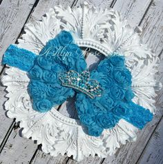 Sparkly Tiara/ Crown Turquoise Chabby Bow by AshlynRoseBows