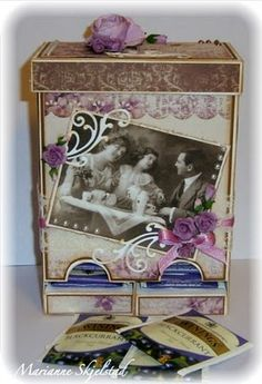 Tea dispenser Test Tube Holder, Outdoor Crafts, Tea Box, Tatty Teddy, Diy Cards, Decorative Boxes, Card Making, Paper Crafts, Gifts
