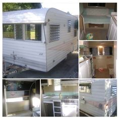 Here's what the trailer looked like before the renovation. It had black paint on the inside, and rust on the outside.