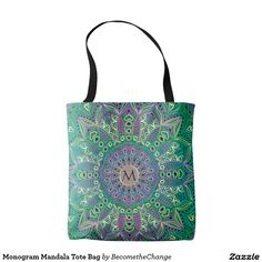 Monogram #Mandala Tote #Bag  #zazzle