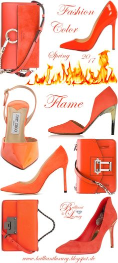 Brilliant Luxury by Emmy DE ♦ Fashion Color Spring 2017 ~ flame Fashion 2017, Spring Fashion, Luxury Fashion, Womens Fashion, Fashion Trends, Women's Shoes Sandals, Shoe Boots, Shoe Bag, New Years Eve Outfit Ideas Winter