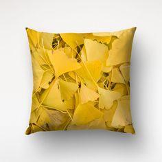 Throw Pillow Of Ginko Biloba Leaves Nature by Macrografiks