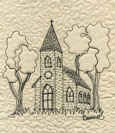 Baumcat: Old Country Chruch thread sketch