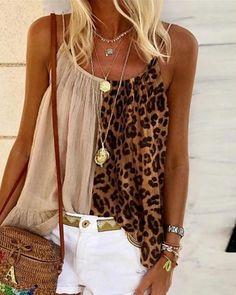 Camisola de alças Colorblock da cópia do leopardo Online. Discover hottest trend fashion at ivrose.com Trend Fashion, Womens Fashion, Style Fashion, Collars For Women, Women Sleeve, Mode Outfits, Pattern Fashion, Camisole Top, Tank Tops