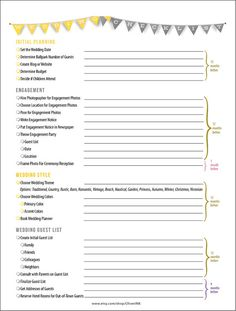 14 Page Complete Wedding Checklist Timeline In Yellow Grey Printable Pdf Digital