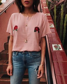 My favorite @shoptwosongs pink rose titties that I made for #BreastCancerAwareness month are back in stock after selling out in one day! Last chance to get them at www.twosongs.com/shop plus 50 % of ALL proceeds from this tee goes to the Breast Cancer Foundation. I'm wearing a size S/M