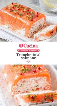 Tronchetto al salmone. Could make smaller or individual ones. Salmon Recipes, Fish Recipes, Seafood Recipes, Healthy Dinner Recipes, Appetizer Recipes, Cooking Recipes, Good Food, Yummy Food, Food Platters