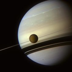 Titan photographed in front of Saturn and its rings by the Cassini probe! 🇮🇹: Titano fotografato in fronte a Saturno e ai suoi anelli dalla sonda Cassini! Credit: NASA, JPL, SSI, J. Astronomy Facts, Space And Astronomy, Carl Sagan, Sistema Solar, Cosmos, Water Heating Systems, Solar Powered Lamp, Saturns Moons, Advantages Of Solar Energy