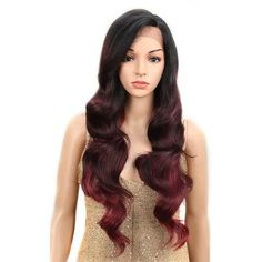 NOBLE Ombre Wig Body Wave inches Side Lace Front 150 Density 2 Colors Heat Resistant Synthetic Wigs For Black Women inches Long Red Hair, Short Straight Hair, Straight Hairstyles, Wig Hairstyles, Wig Styles, Curly Hair Styles, Natural Hair Styles, Synthetic Lace Front Wigs, Synthetic Wigs