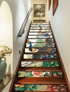Color Peacock Animal Stair Risers Decoration Mural Vinyl Wallpaper An Stair Walls, Stair Risers, Bookshelf Design, Bookshelves, Big Design, House Design, Design Ideas, Decoration Photo, Traditional Staircase