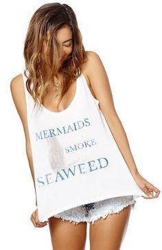 Mermaids Smoke Seaweed Tank Top Beach Outfit Mermaid Outfit Ideas Seaweed Funny Shirt 35mm Clothing Sasha Hawaii