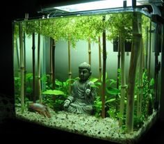 buddha aquarium deko aquarium mit bambus einrichten groses viereckiges aquarium