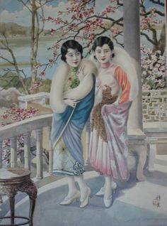 Hang Zhiying (1899-1947) :Two Women on Porch, Original work, for British American Tobacco Company, Watercolour Signed lower right 50cm x 36.5cm,  Literature Selling Happiness: Calendar Posters and Visual Culture in Early-Twentieth Century Shanghai, By Ellen Johnston Laing and Ad Legends of Shanghai, Documentary, CCTV, 2013