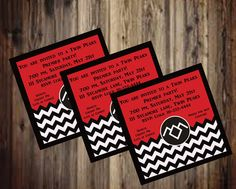 Twin Peaks Party Invitation, Twin Peaks Premier Party Invitation, Black, White, and red Chevron with owl cave symbol, 5 x 5, digital file by sycamoregrove on Etsy https://www.etsy.com/listing/515323245/twin-peaks-party-invitation-twin-peaks