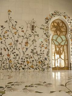 Marble Embossed climber multi color flowers onwalls of Sheikh Zayed Mosque - Abu Dhabi, UAE Art Et Architecture, Mosque Architecture, Beautiful Architecture, Beautiful Buildings, Ancient Architecture, Decor Interior Design, Interior Decorating, Beautiful Mosques, Grand Mosque