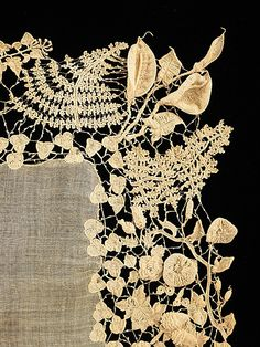 Irish* Accessory set cotton ca. 1850 The varieties of plant forms and flowers represented, their naturalism and the three-dimensionality set this extraordinary example of Irish crochet lace apart from the more static designs of later examples Crochet Metal, Crochet Lace, Antique Lace, Vintage Lace, Lacemaking, Textiles, Linens And Lace, Irish Lace, Lace Embroidery