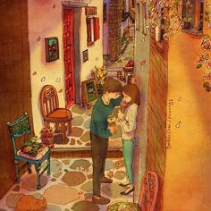 You came closer to me while strolling down the alley.  My heart pounds faster as you get nearer.  See a full illustration : grafolio.com/illustration/167777