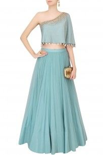 Frost Blue Sequinned Cape Top With Tulle Skirt #lehenga #blue #weddingseason… (Lehenga Top Design)