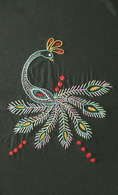 Hand Embroidery Projects, Hand Work Embroidery, Embroidery Transfers, Hand Embroidery Patterns, Embroidery Techniques, Embroidery Applique, Cross Stitch Embroidery, Peacock Embroidery Designs, Flower Art Drawing