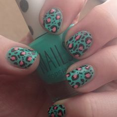 Today's nails - turquoise and pink leopard print!