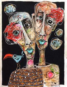 Figurative Art by Deb Weiers. Arte Alien, Figurative Kunst, Ap Art, First Art, Arte Floral, Outsider Art, Psychedelic Art, Portrait Art, Portraits