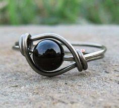 Black Onyx Ring In Gunmetal $8