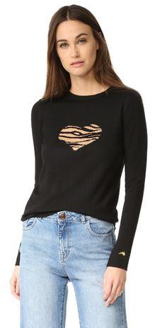 Bella Freud Tiger Heart Sweater In Black Bella Freud, Heart Sweater, Tiger Print, Hoodies, Sweatshirts, Beachwear, Long Sleeve Tops, Active Wear, Womens Fashion