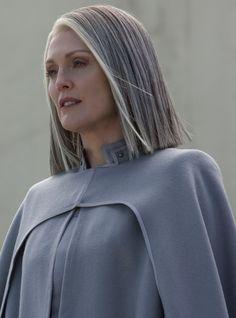 President Alma Coin - Hunger games - mocking jay - rebel leader - rebellion - silver hair - salt and pepper hair - white hair - gray hair - shoul