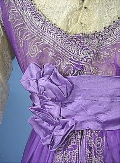 c. 1912 Incredible Bright Lavender Chiffon and Silk Satin Edwardian Gown with Crystal Beading and Beaded Fringe