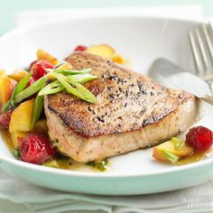 We combined raspberry salsa with sliced peaches and apricots to brighten this 15-minute fish dish./