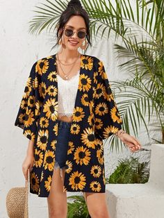 To find out about the Drop Shoulder Sunflower Print Kimono at SHEIN, part of our latest Kimonos ready to shop online today! Fall Kimono, Look Kimono, Kimono Outfit, Short Kimono, Tee Dress, Kimono Fashion, Fashion Dresses, Summer Kimono, Looks Hip Hop