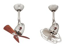 brushed nickel with wooden blades, and metal blades with decorative cage.