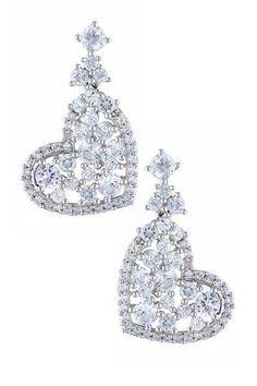 Sterling Silver White Sapphire Cluster Heart Earrings