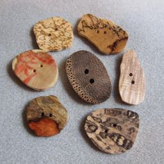 Wood Buttons Assortment 7 large - Extra Large Exotic Wood handmade crafted Variety buttons USA Ecofriendly on Etsy, $19.00