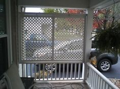x 8 ft. White Privacy Diamond Vinyl Lattice - - The Home Depot Porch Privacy Screen, Privacy Wall On Deck, Balcony Privacy, Privacy Fence Designs, Outdoor Privacy, Privacy Walls, Privacy Screens, Lattice Privacy Fence, Outdoor Patios