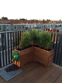 Dakterras Amsterdam, hardhouten plantenbakken, roof terrace Amsterdam,