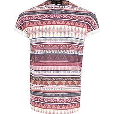 Dark red tribal stripe t-shirt #riverisland