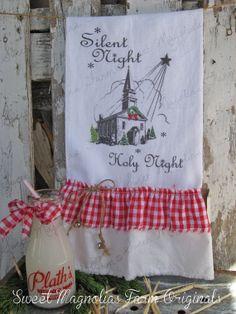 "Christmas Flour Sack Kitchen Towel - Farmhouse Country Style Ruffles Farm Cottage ""Silent Night Holy Night "" Church"