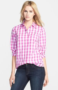 Women's Vineyard Vines Oversize Gingham Check Shirt, from Nordstrom. Shop more products from Nordstrom on Wanelo. 2015 Fashion Trends, Spring 2015 Fashion, Fashion Ideas, Gingham Shirt, Ruffle Shirt, Casual Outfits, Cute Outfits, Gingham Check, Rocker Chic