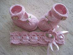 Babyschuhe/Ballerina und Haarbändchen im Set von Unikate-Ellen auf DaWanda.com