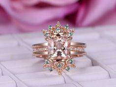 Princess Morganite Engagement Ring Sets Alexandrite Tiara Ring Guard 14K Rose Gold 8mm