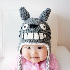 Totoro Hat, Crochet Baby Hat, Baby Hat, Animal Hat, Grey, photo prop, Inspired by Totoro. $22.99, via Etsy.