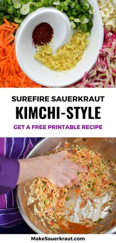 This Kimchi style sauerkraut recipe is fun to make with its many flavors. Korean red pepper powder - Gochugaru - adds heat with ginger and garlic in the background. Why I love this recipe? It connects me to cultures around the world where traditionally fermented foods are still a part of their everyday  lifestyle. Find tips and tricks on how to make this fermented vegetable  dish based on the popular spicy Korean cuisine. Available in printable PDF  version.  #vegetarian #guthealth Making Sauerkraut, Sauerkraut Recipes, Kimchi Recipe, Pepper Powder, Carrot And Ginger, Thing 1, Fermented Foods, Vegetable Dishes, Popular Recipes